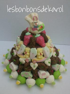 guimauve et chocolat 45 € (env. 1000 gr et 112 bonbons + 1 sucette + 50 cm tresse guimauve - diam 35 ht 28 cm)