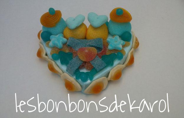 petit coeur bleurange 10 € (env. 260 gr et 39 bonbons - 18x16x7 cm)