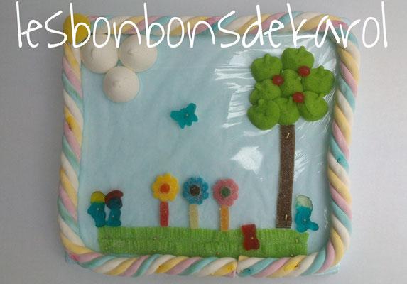 jardin de printemps 12,50 € (env. 290 gr et 27 bonbons + 2 tresses - 29x32 cm)