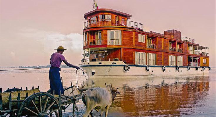 Auf dem nördlichen Mekong reisen mit kleinen Schiffen Asien erkunden...