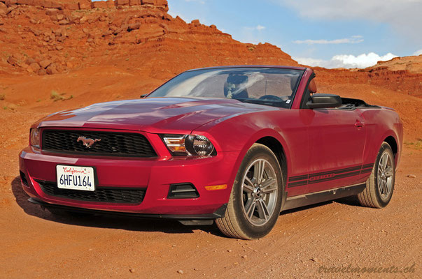 ford mustang convertible in the monument valley navajo tribal park; ar