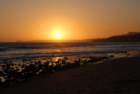 sunset at malibu beach, ca