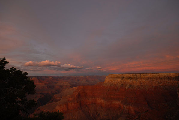 sunset at grand canyon south rim; az