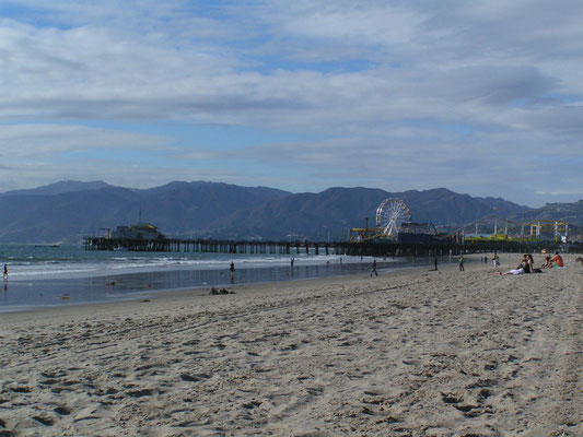 santa monica pier & beach, santa monica; ca