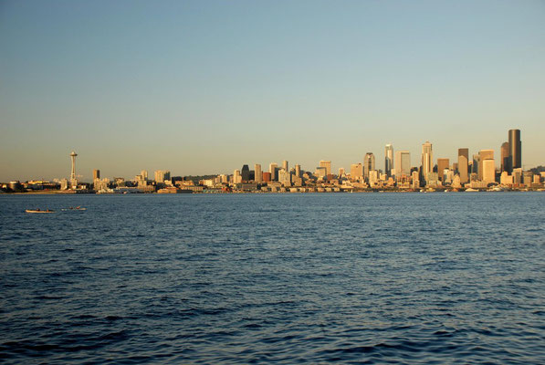 skyline view from seacrest marina park, seattle; wa