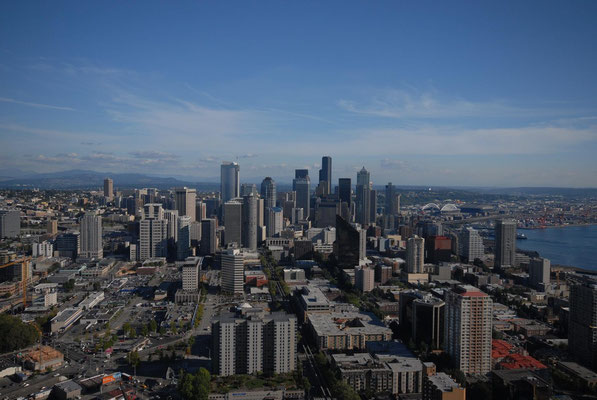 skyline, view from space needle, seattle; wa