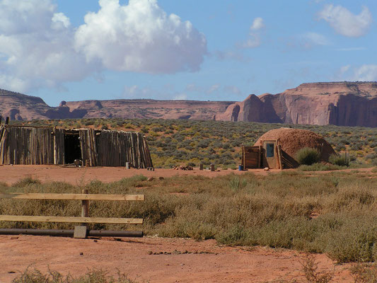 summer shade house & navajo hogan, monument valley; ut