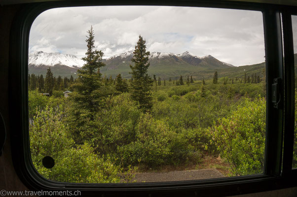 Blick aus dem Camper, Campground Tombstone Mountains