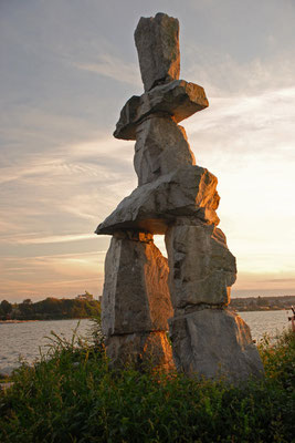 inukshuk, english bay beach, vancouver; bc