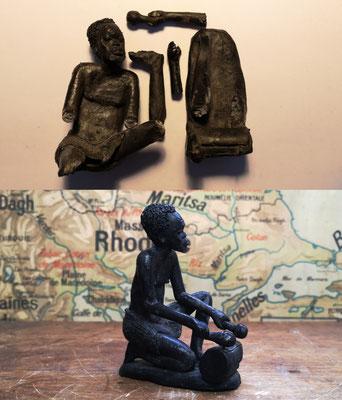 Réassemblage d'une statuette en terre cuite (RDC 1977, Musée africain de Namur)