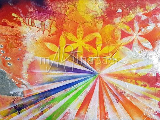 Regenbogen und Lebensblume