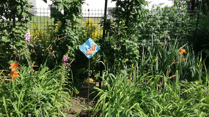 Hingucker: Gartenstecker (Mosaik auf Stahlplatte, 20x20)