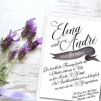 moderne Einladungskarte zur Hochzeit