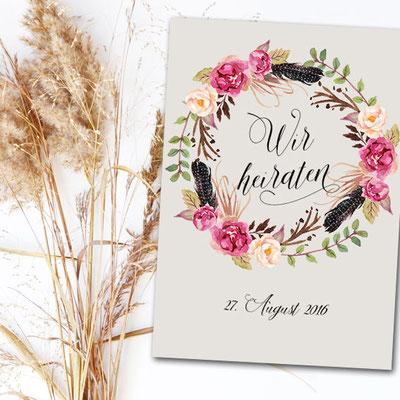 Boho Hochzeitskarten Hochzeitskartenshop