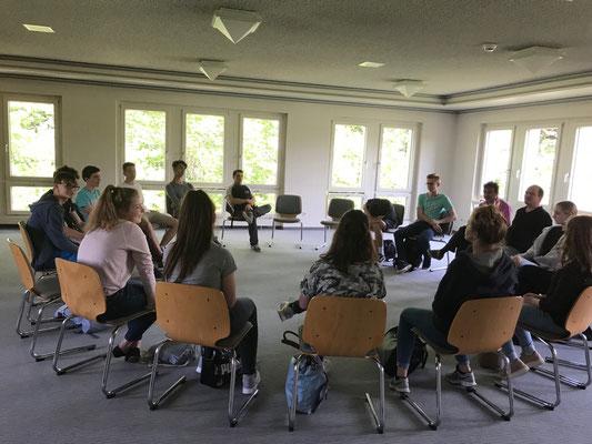 Lerntag katholische Religionsgruppe der Geschwister-Scholl-Schule Konstanz im Internationalen Blindenzentrum Landschlacht/Schweiz