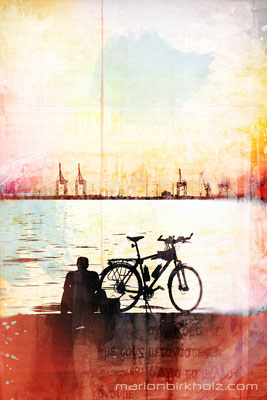 a man, his bike and a sunset