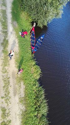 """Rüstboot und Blaues Dixi vom Aussichtsturm """"Neu Helgoland"""" aus gesehen"""
