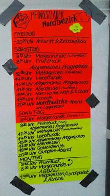 Ablaufplan des Lagers