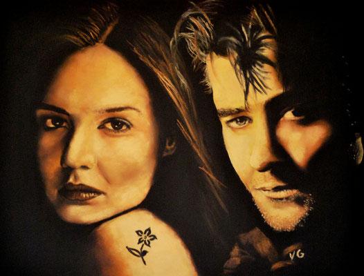 Katie Holmes & Goran Visjnic, pastel (2002)