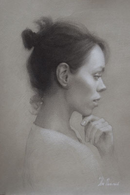 Self Portrait (charcoal and white chalk on toned paper, 42cm x 32cm)