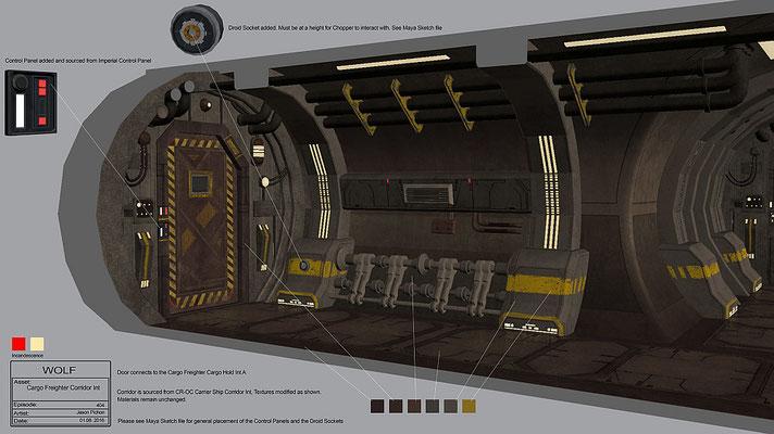 Korridor des Frachters / Konzeptzeichnung von Jason Pichon