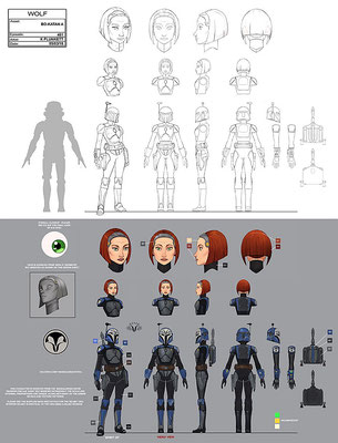 Bo-Katan Konzeptzeichnung von Kilian Plunkett