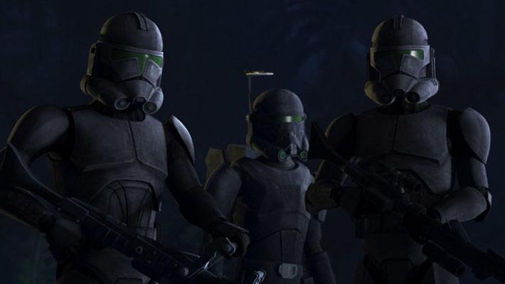Die Elite-Einheit unter dem Kommando von Crosshair trägt modifizierte schwarze Klontruppen-Rüstungen mit grünen Visieren. Zudem sieht man, dass sie den jeweiligen Körpern angeglichen wurden und nicht mehr die einheitliche Größe der Klontruppen haben.