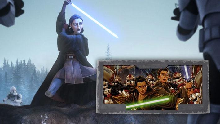 """Caleb Dume, den Fans von Star Wars Rebels besser bekannt als Kanan Jarrus, und seine Meisterin Depa Billaba erleben die Order 66 zu Beginn dieser Episode. Dieses Ereignis wurde erstmals in der Marvel Comic-Serie """"Kanan"""" erwähnt."""