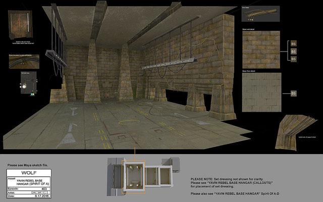 Hangar der Rebellenbasis / Konzeptzeichnung  von Amy Beth Christenson