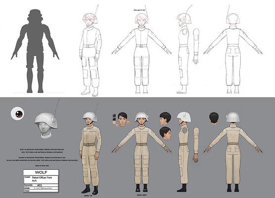 weiblicher Rebellenoffizier / Konzeptzeichnung von Luke Harrington