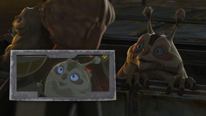 Die Voorpacks waren auch auf den Straßen zu sehen. In Star Wars Resistance trat eines dieser Tiere als Torra Dozas freches Haustier Buggles aus