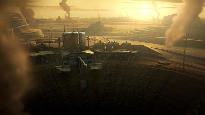 Der Planet Kessel wurde zuerst in Eine neue Hoffnung erwähnt. In Star Wars Rebels ist er erstmals in einem Film zu sehen. Hierfür wurden die Entwürfe von George Lucas genutzt.