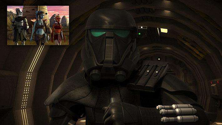 """Der Death Trooper Commander DT-F16 wird von Jennifer Hale gesprochen, die auch schon Aayla Secura in """"The Clone Wars"""" und Bastila Shan in dem Videospiel """"Knights of the Old Republic"""" ihre Stimme lieh."""