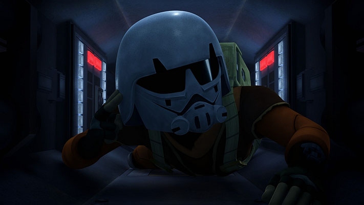 Der Helm, den Ezra an Bord des Sternzerstörers trägt, ist ein Sturmtruppen Kadetten-Helm.