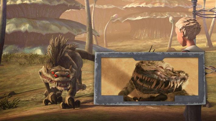 Omega wird von einem Nexu angegriffen, das erstmals in Angriff der Klonkrieger zu sehen war