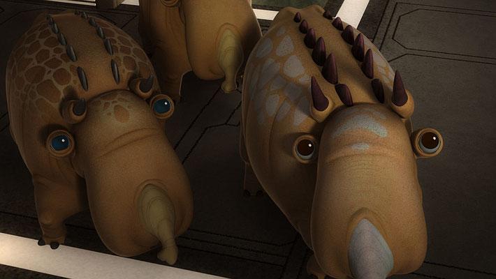 Die Ballonsäue waren zum ersten und bisher letzten Mal in der 9. Folge der ersten Staffel zu sehen. Dieses Mal wurde auch ein Baby designed, das aber doch nicht verwendet wurde.