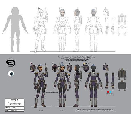 Mandalorianischer Kämpferin Konzeptzeichnung von Luke Harrington