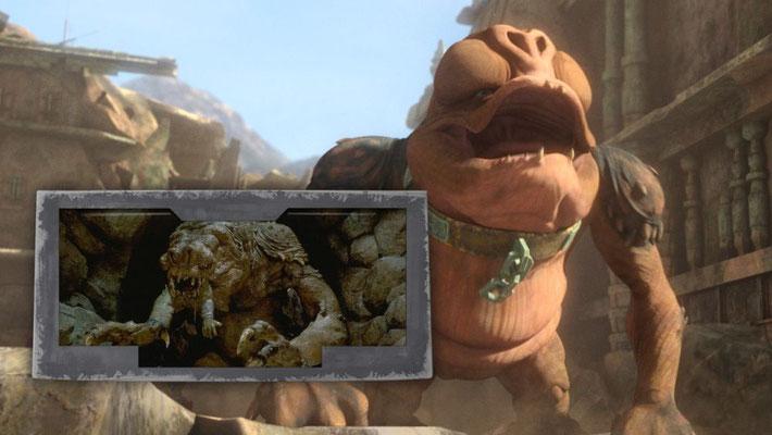 """Der Rancor Mucchi wird zu Jabba gebracht. Wie man seit Die Rückkehr der Jedi-Ritter"""" weiß, hält sich der Hutt gerne derartige Haustiere"""