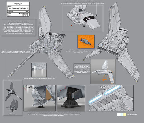 Imperiales Shuttle / Konzeptzeichnung von Kilian Plunkett