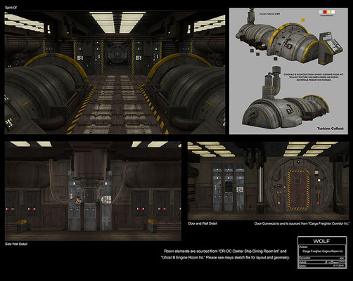 Maschinenraum des Frachters / Konzeptzeichnung von John-Paul Balmet