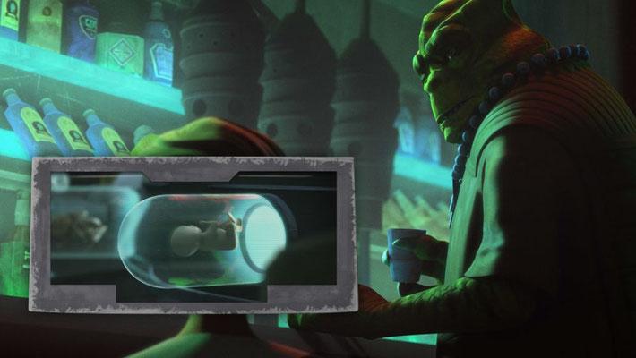 """Cid fragt die Klone, ob sie """"Frisch aus der Röhre"""" sind und meint damit die Behälter, in denen die Klone gezüchtet werden"""