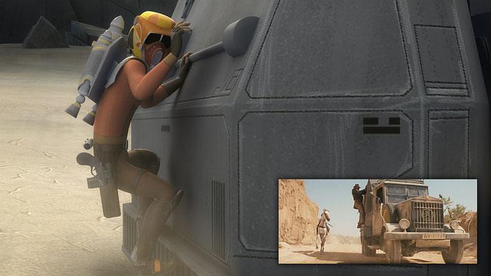 """Die Rettung von Alrich Wren ist inspiriert durch entsprechende Szenen in """"Jäger des verlorenen Schatzes"""" und """"Indiana Jones und der letzte Kreuzzug""""."""