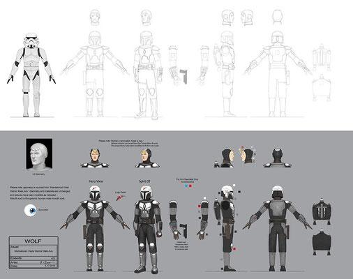 Mandalorianischer Viszla Kämpfer Konzeptzeichnung von John-Paul Balmet