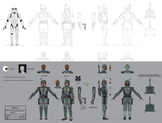 Mandalorianischer Kämpfer Konzeptzeichnung von Jason Pichon