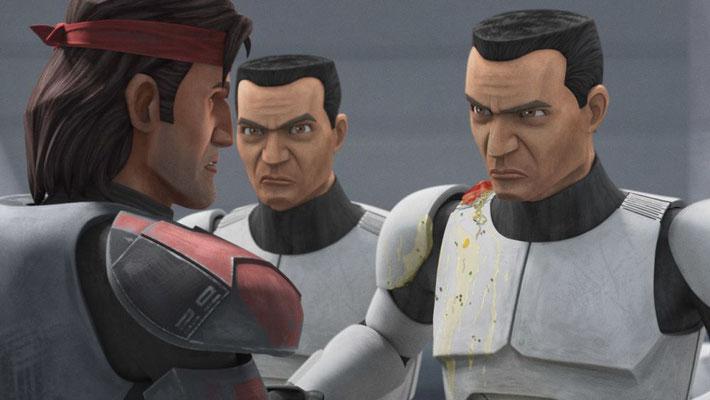 Nach der Vernichtung des Jedi-Ordens tragen de Clone Trooper wieder nur weiße Rüstungen.