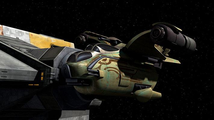 Das Wookiee-Gunship am Ende wurde für die Serie neu entworfen. Es basiert auf den Gunships in Episode III.