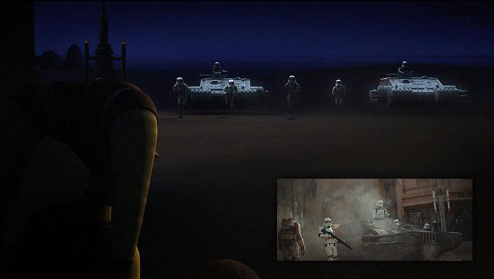Die TX-225 Panzer aus Rogue One sind erstmals in der Serie zu sehen. Allerdings handelt es sich schwebende Panzer und nicht wie in dem Kinofilm um Panzer auf Rädern.  Das Design für Rogue One wurde nochmal geändert.