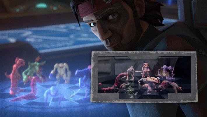 Das Dejarik-Spiel in dieser Episode hat ein einzigartiges Design bei dem auch der Spieltisch projiziert wird.