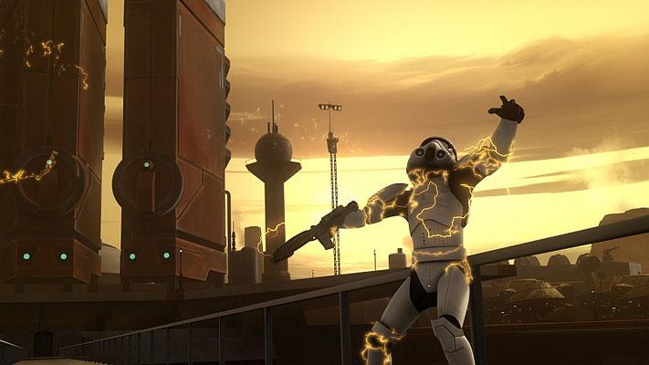 """Der Stormtrooper, der in die Grube fällt, lässt den sogenannten """"Wilhelm-Schrei"""" ertönen, ein Easter Egg, das in hunderten Filmen, Serien und Games zu hören ist."""