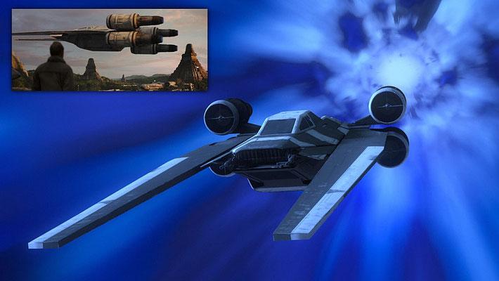 Erstmals ist in der Serie ein U-Wing zu sehen. Hier in der schwarz.weißen Lackierung, die auch die X-Wings auf Jedha in dem Kinofilm hatten.